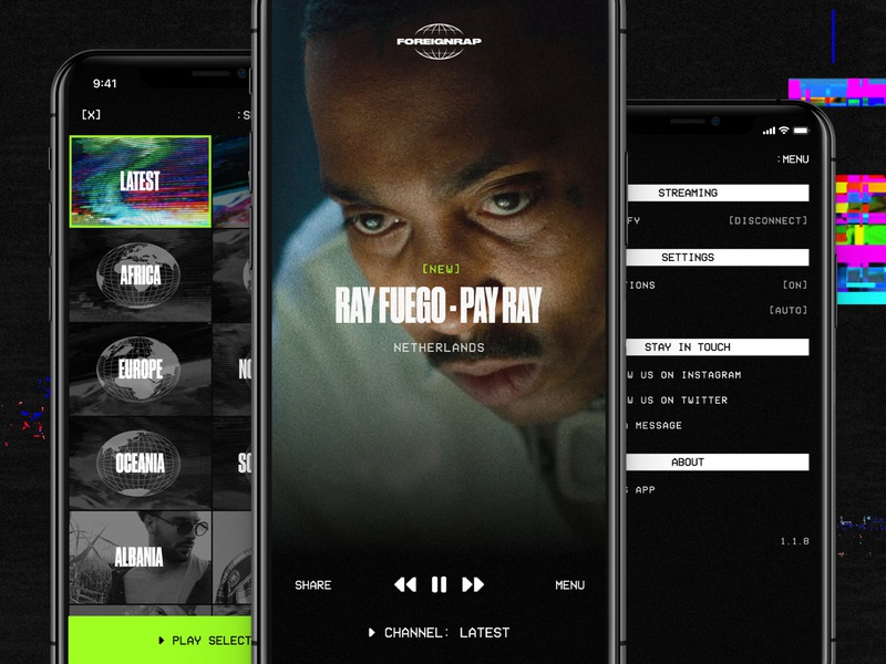 Foreignrap for iOS vhs video player video dark ui dark music player player music foreignrap