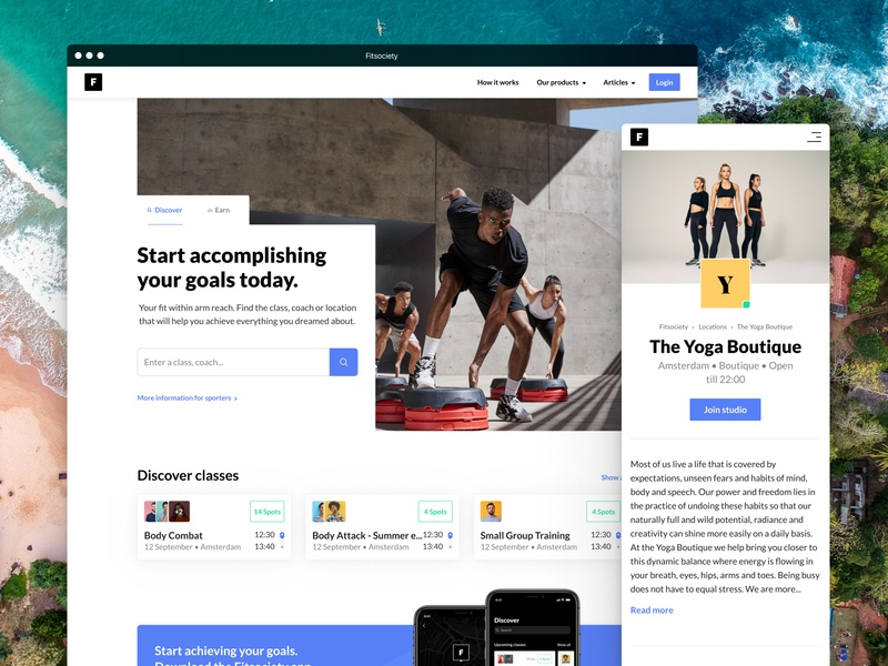 Fitsociety website flat clean blue marketplace hero app fitness ui white minimal sports web website