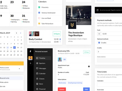 Fitsociety Components minimal dashboard website fitness design light ui components app design system