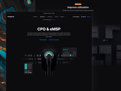 Chargetrip - CPO & eMSP Solution Page website theme solution product chargetrip electric hero ui design dark web