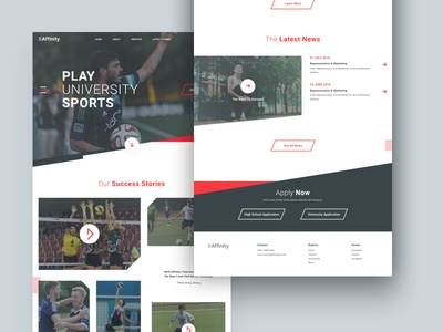 Affinity Homepage lines dynamic gray school page web sports red