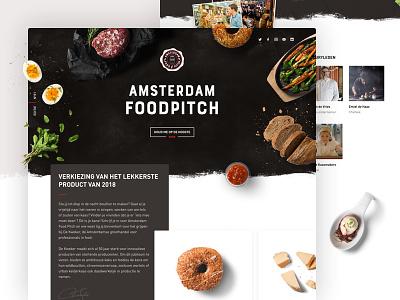 Amsterdam Foodpitch light dark campaign marketing page landing hero header restaurant food