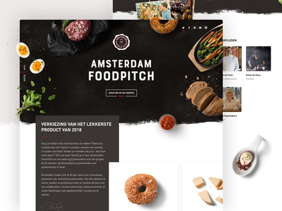 Amsterdam Foodpitch light dark campaign marketing page landing hero header restaurant food