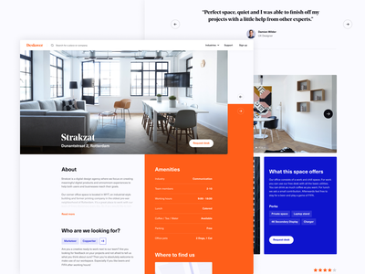 Deskover Detail hero state work office stats tags ui design blue orange web