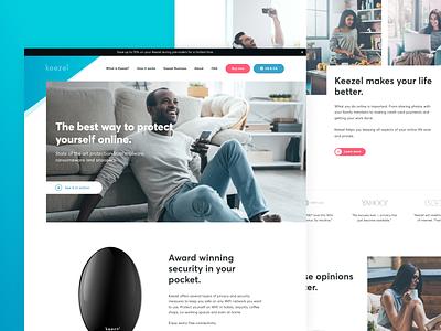 Keezel white homepage header hero clean design landing page
