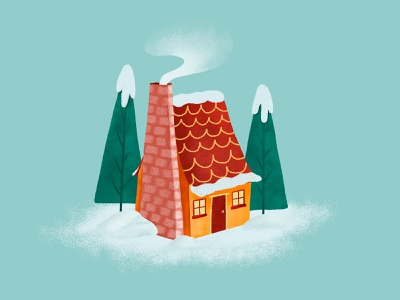 Day day winter house drawing procreate art illustration