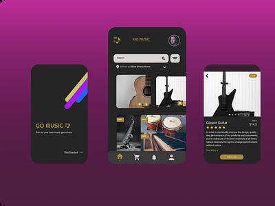 Music Shop Concept mobile modern shop music icon logo art design ux ui