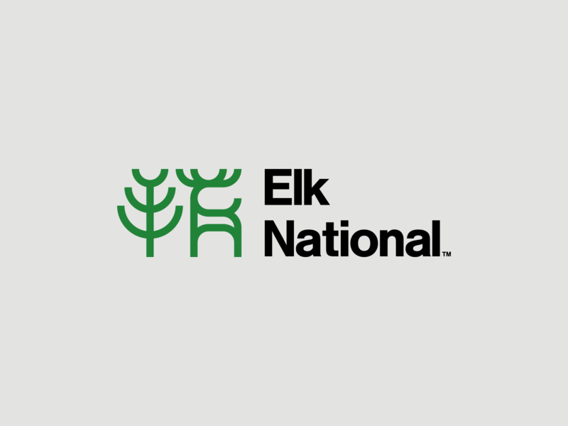 Elk National green vector minimal mark logo illustrator flat design clean branding