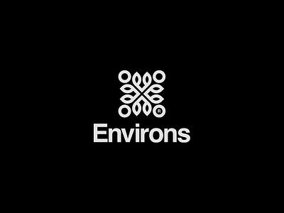 Environs collective social green sustainability helvetica rotation floral design monochromatic logotype logomark typography vector minimal flat design mark logo illustrator clean branding