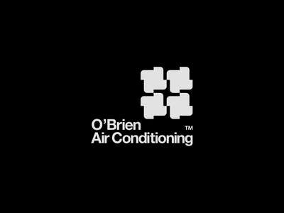 O'Brien Air Conditioning monochromatic identity branding identitydesign identity branding design brandidentity brand logodesign logotype logomark typography vector minimal flat design mark logo illustrator clean branding