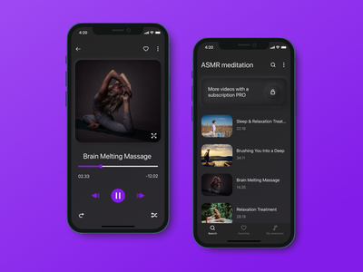 Relaxation video mobile application video relaxation relax ux  ui app design ui design figma