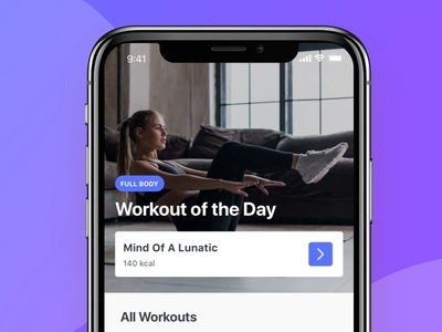 Workout of the Day gradient iphonex workout women ui ios hiit fitness exercise