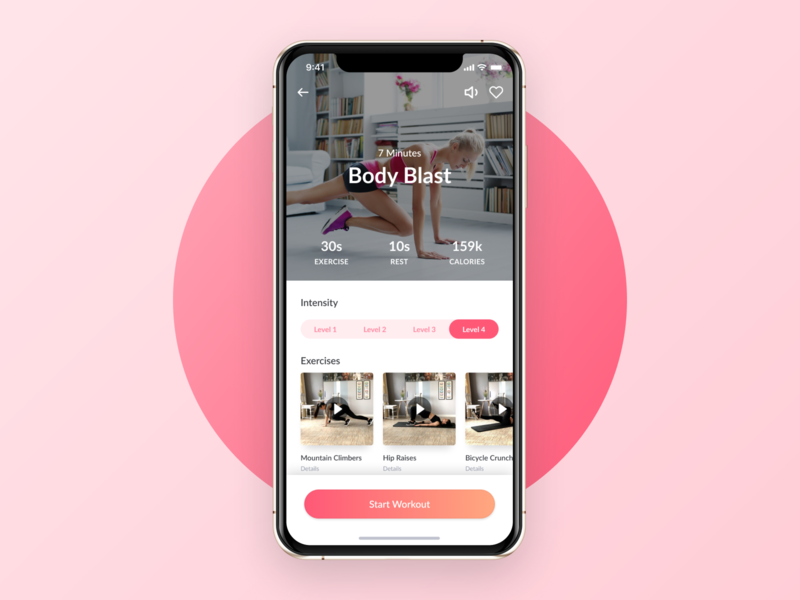 Workout Details - WeBurn iphone 10 iphonex exercise workout startup clean ui ios women hiit fitness