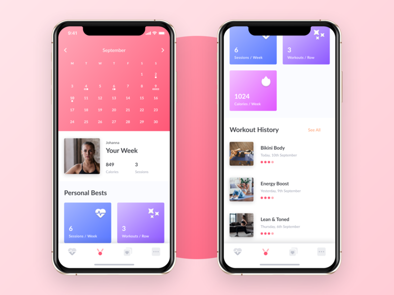 Achievements - WeBurn women ui startup workout fitness female pink gradient iphonex iphone 10 achievement exercise clean