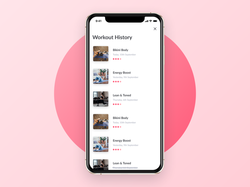 Workout History - WeBurn startup pink clean exercise iphonex gradient fitness workout ui women