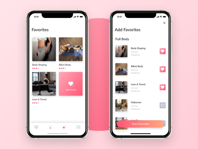 Favorite Workouts - WeBurn clean exercise startup ui toggle iphonex favorite gradient pink female fitness women