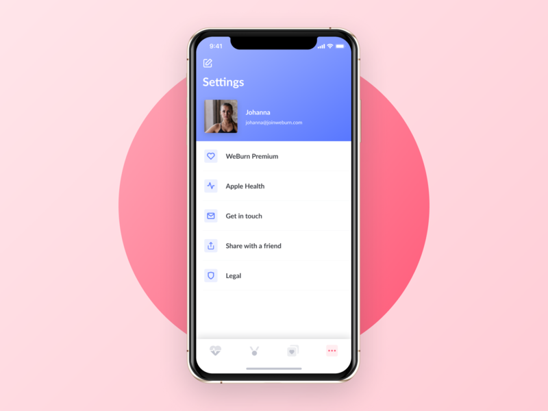 User Menu - WeBurn gradient feedback menu setting workout female iphonex exercise startup ui fitness women