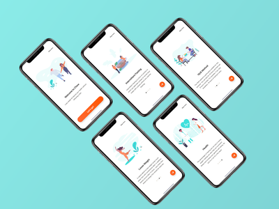 Chew - Onboarding onboarding undraw illustration ux ui gradient clean startup iphonex ios weightloss orange teal fasting intermittent interval tracker health fitness