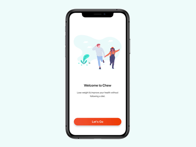 Chew - Animated Onboarding animation fitness health tracker interval intermittent fasting teal orange weightloss ios iphonex startup clean gradient ui ux illustration undraw onboarding