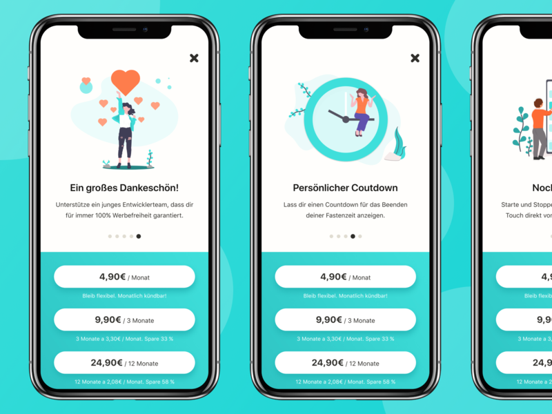 Chew - Premium react native illustration purchase payment ux ui gradient clean startup iphonex ios weightloss orange teal fasting intermittent interval tracker health fitness