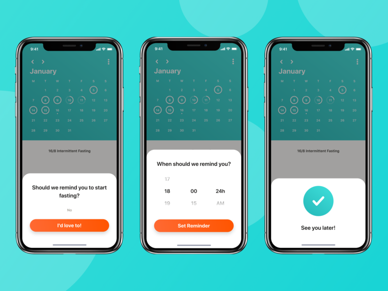 Chew - Reminder reminder react native ux ui gradient clean startup iphonex ios weightloss orange teal fasting intermittent interval tracker health fitness modal
