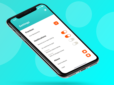 Chew - Settings react native settings ux ui gradient clean startup iphonex ios weightloss orange teal fasting intermittent interval tracker health fitness