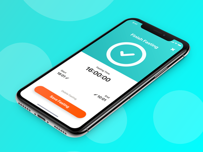 Chew - Finish Fasting react native sucess ux ui gradient clean startup iphonex ios weightloss orange teal fasting intermittent interval tracker health fitness modal