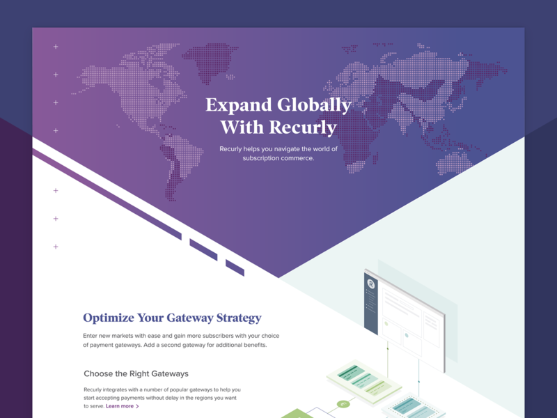 Recurly International Page commerce revenue subscription isometric globally global international design