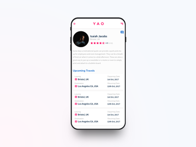 YAO Shipping App - Profile Page seller user profile sale product shopping e-commerce design ios app ux ui