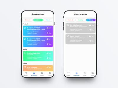Sportaneous - Finding an activity fitness category colours history group event list sports ux startup product ios app design ui