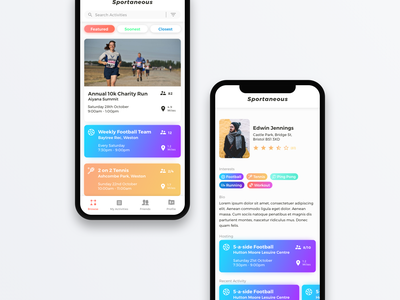 Sportaneous Profile Page friends stars rating stats information user profile sports fitness product ios app design ui