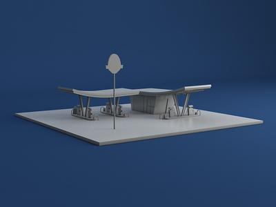 Dinoco Gas Station model gas station miniature toy story pixar autodesk maya cinema 4d 3d model 3d dinoco