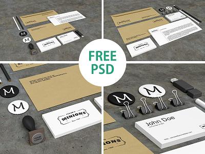 Stationery PSD Mockups (FREE PSD) free stationery mockup identity psd freebie brand business card letter download design