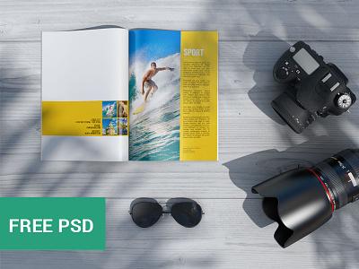 Magazine Psd Mockup 2 (FREE PSD) magazine free mockups mockup design freebie psd download layout template indesign graphicdesign