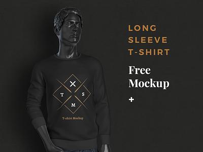 Free Long Sleeve T Shirt Mockup template apparel fashion brand clothing free mock-up mockup t-shirt shirt photoshop design