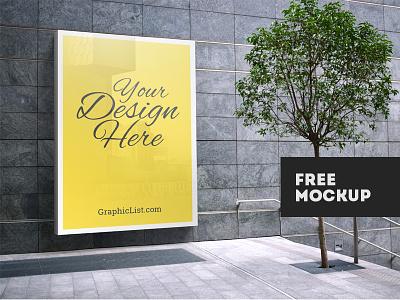 Outdoor Advertising Mockup #1 banner realistic free resources design freebbble freebie poster billboard advertising mockup