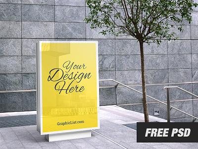 Free Outdoor Advertising Mockup #2 freebbble banner poster realistic advertising ads design freebie mockup free