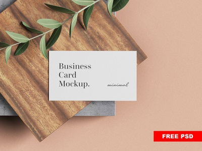 Free minimal business card mockup2