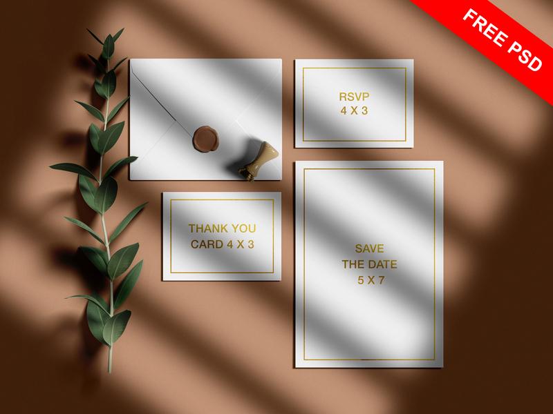 Free Wedding Invitation Mockup Set graphic presentation free design branding download psd freebbble freebie mockup