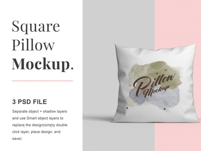 Square pillow psd mockups