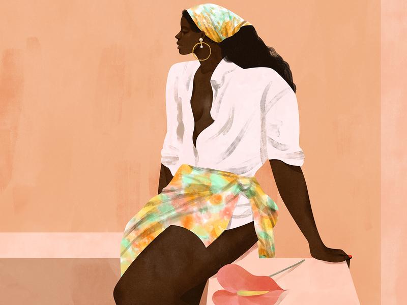 A Short Wait digital illustration digital art digitalart feminine female illustration fashion illustration illustration art illustrator illustration