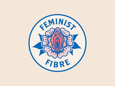 Feminist Fibre brand identity tattoo feminist vulva feminism fibre art fibre crochet brand design logo design badge graphic design illustration branding logo icon flat vector illustrator design