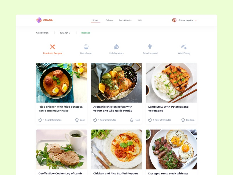 Featured Recipes app web figma user inteface colorful featured meat meal planner ux design ui design concept culinary cooking foodie food recipe
