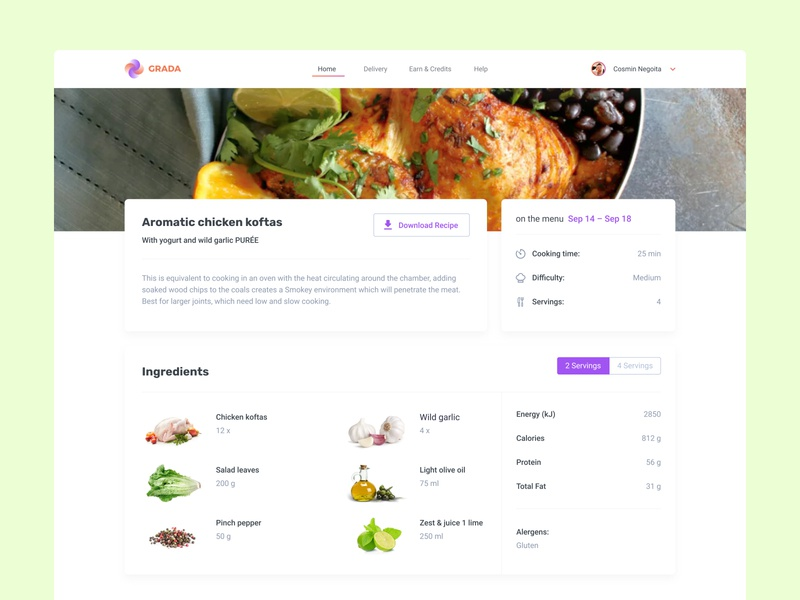 Recipe – Detail Page colorful chicken uxdesign app uidesign web user inteface concept ingredients meal planner cooking culinary food and drink foodie recipe