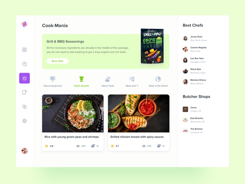 Cooking Mania — Grill & BBQ web ui  ux ux design user inteface ui design mvp vegetable spice seasoning recipe meal planner meal prep meat grill bbq butcher shop chef culinary cooking app cooking