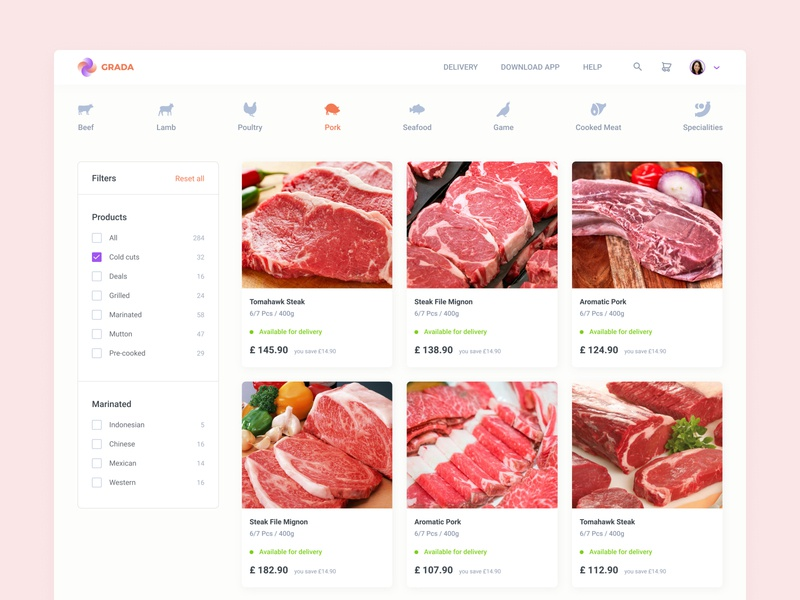 Meat Category — Search & Filter ui design culinary web user inteface sorting sort by tab tabbar filter search bar ecommerce beef marketplace cooking category meat