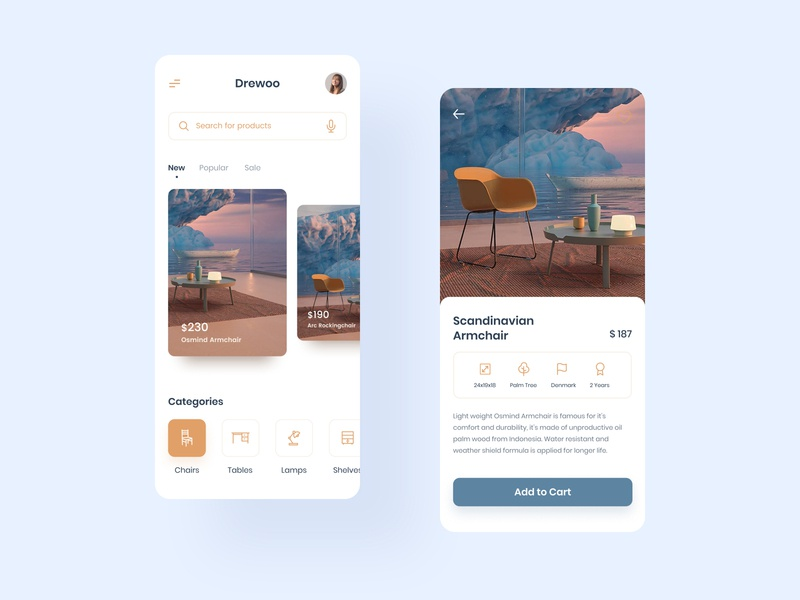Furniture App Concept figma app interior icons detail page home screen colorful ux design ui design user inteface shopping ecommerce armchair furniture app