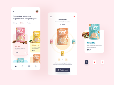 Sugar & Spice – Marketplace App app seasoning sugar marketplace food and drink food app food concept figma colorful ux design ui design user inteface