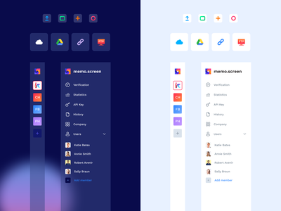 Sidebar Menu Glassmorphism cloud service cloud app icons side menu sidebar menu bar dark theme dark mode blur glassmorphism 2021 trend transparency transparent concept figma web colorful ux design ui design user inteface