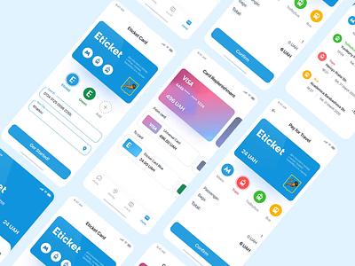Eticket App - Transport Payment bank card transfer money banking app banking payment form payment app colorful ux design ui design user inteface app payments transition transport